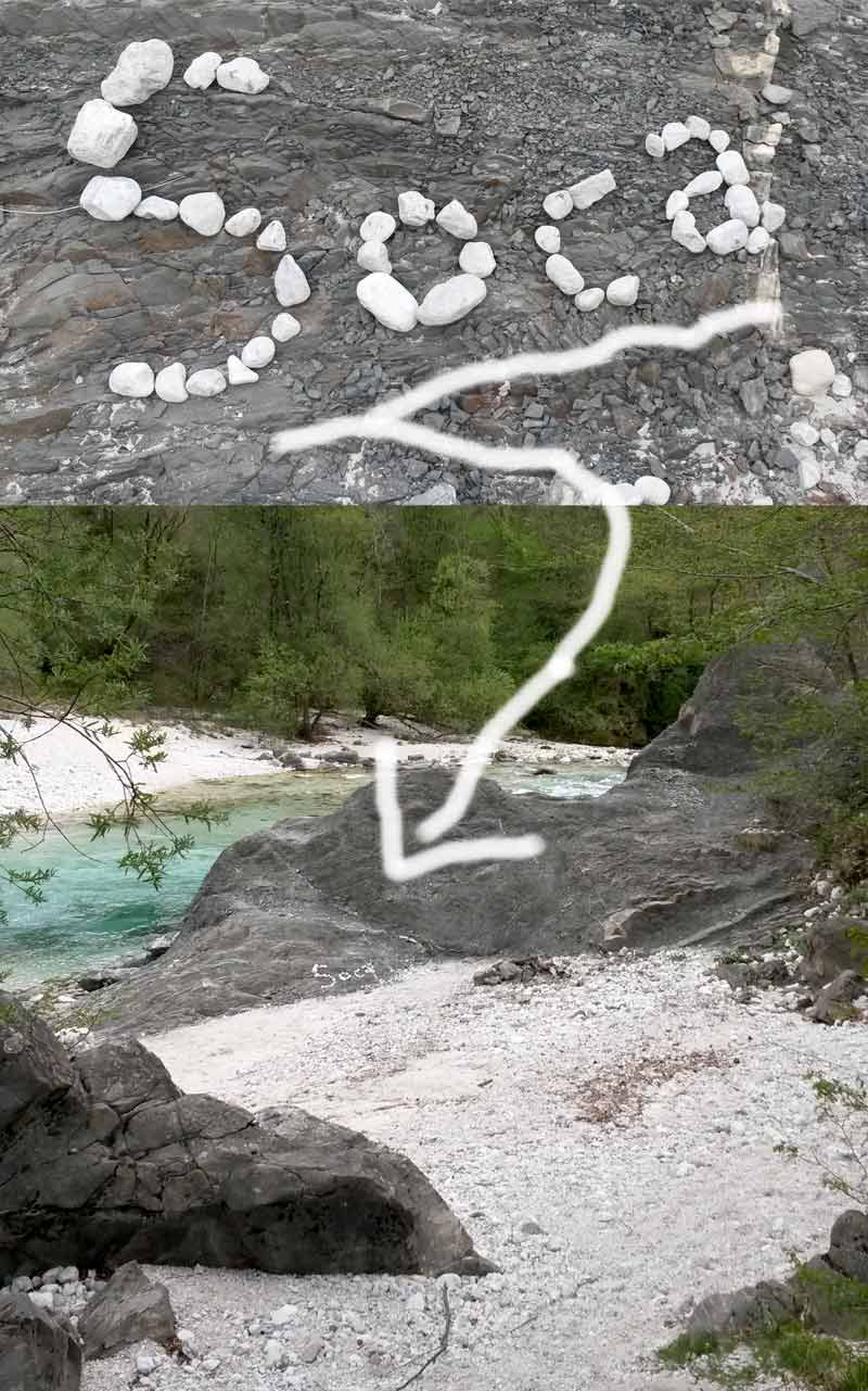 Flussname mit Steinen schreiben