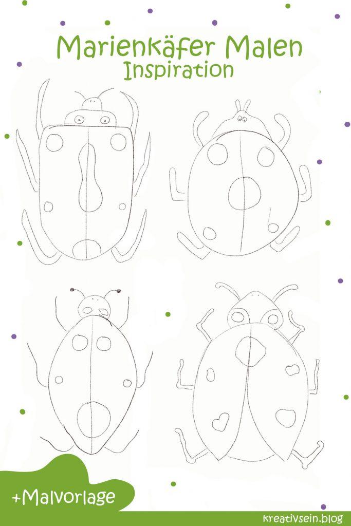 Marienkäfer Malen Variationen