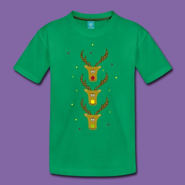 T-Shirt mit Rentierköpfen zum Ampelfarben Lernen