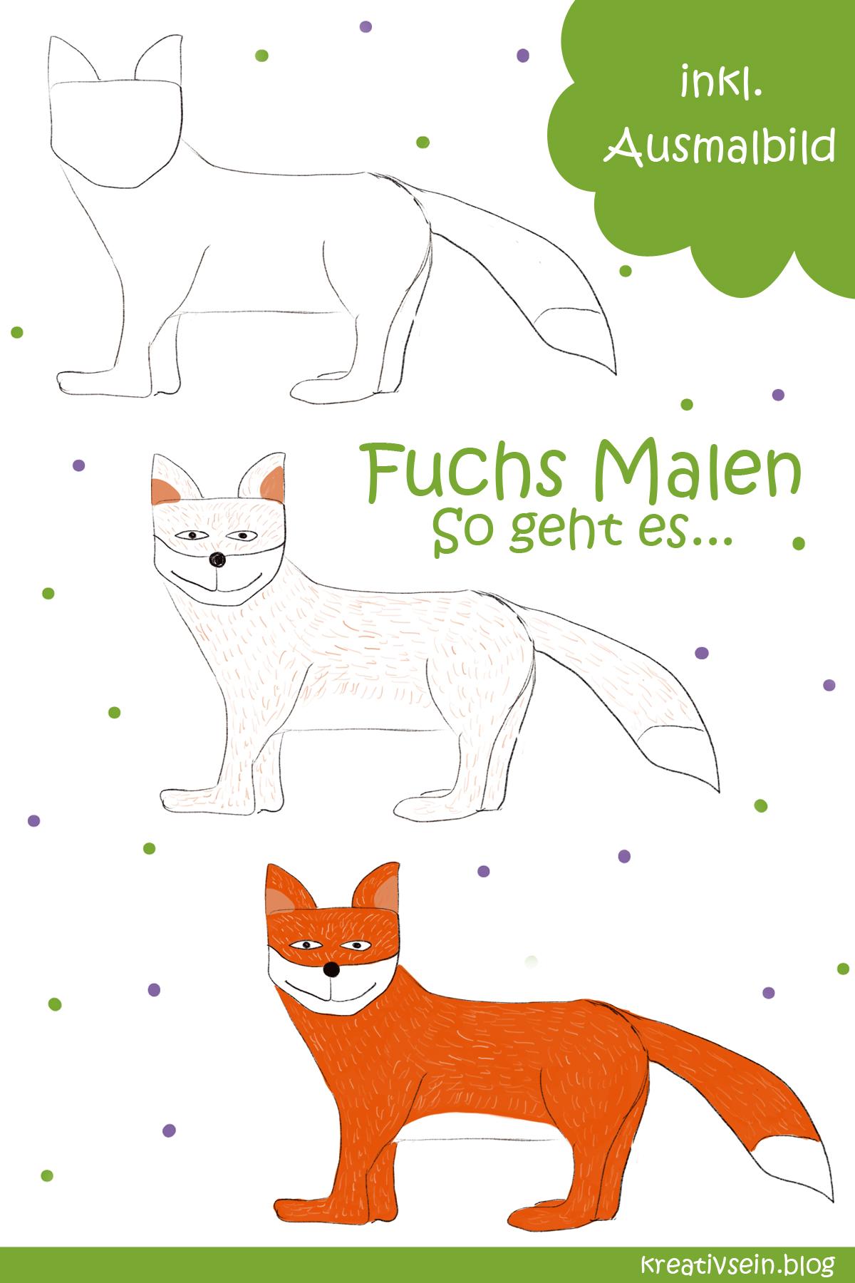 Azeeda Gross A2 Fuchs Wandschablone Vorlage