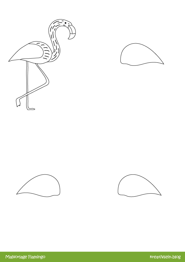 Malvorlage Flamingo zum Weitermalen