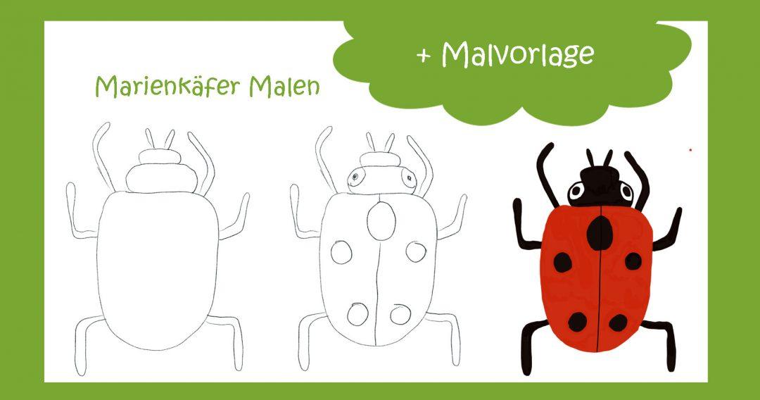 Marienkäfer Malen und Malvorlage für den kreativsein.blog