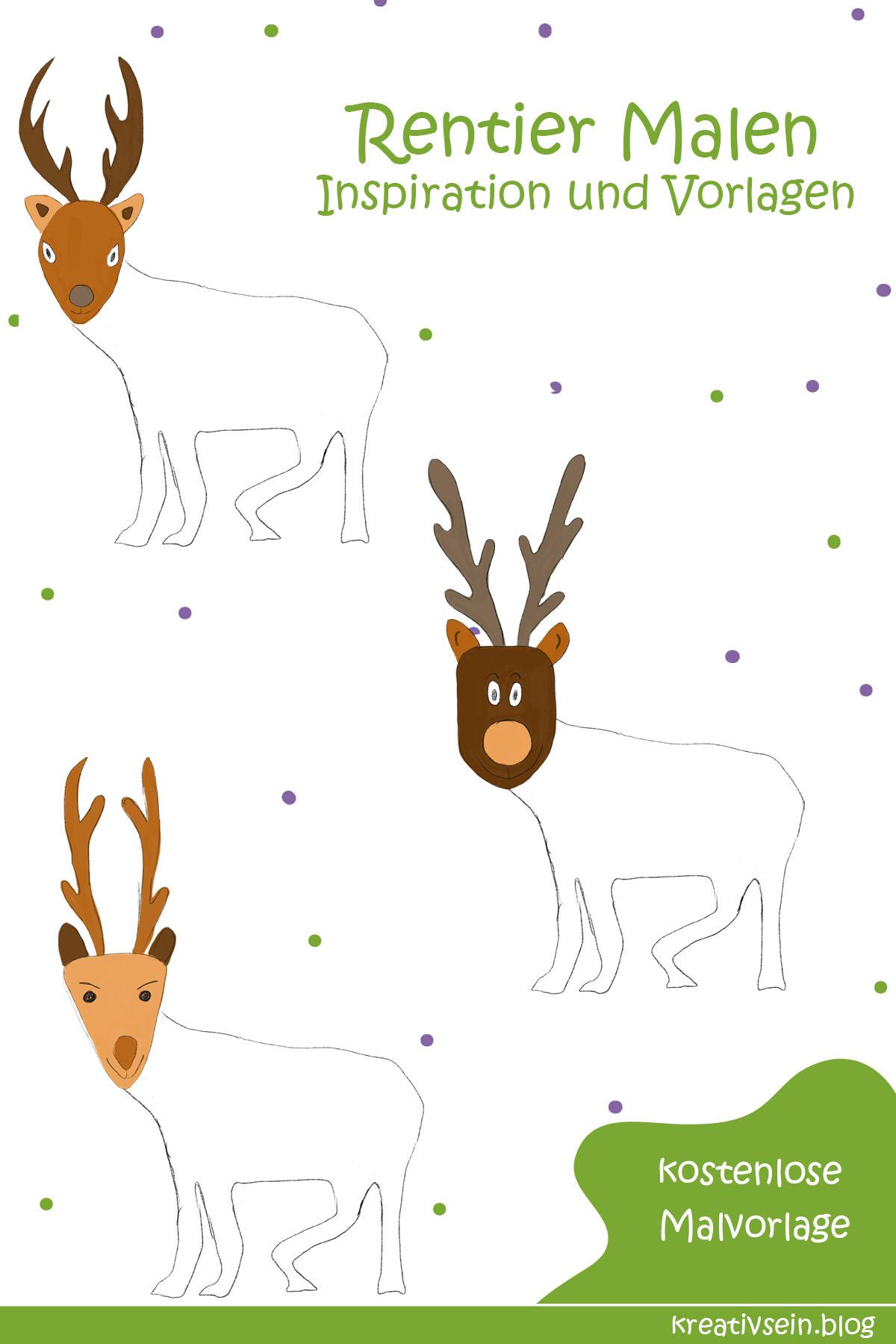 Cooles Rentier Malen zu Weihnachten mit Ausmalbild - kreativsein.blog