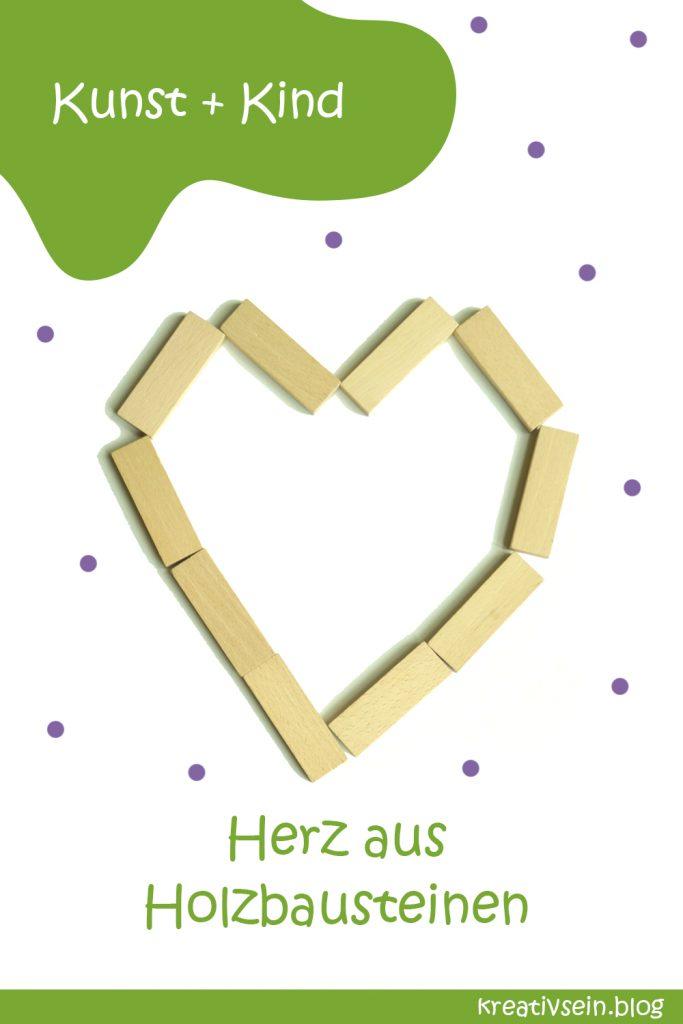 Legebilder aus Holzbausteinen für Kinder - Herz