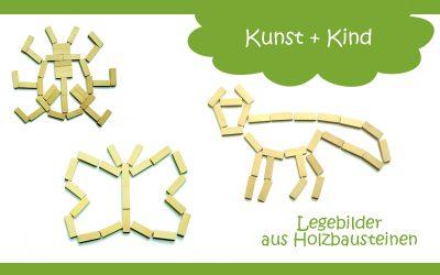 Legebilder aus Holz-Bausteinen für Kinder