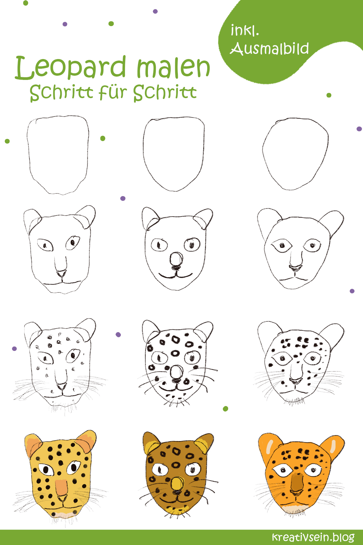 leopard kopf zum ausmalen  kinder ausmalbilder