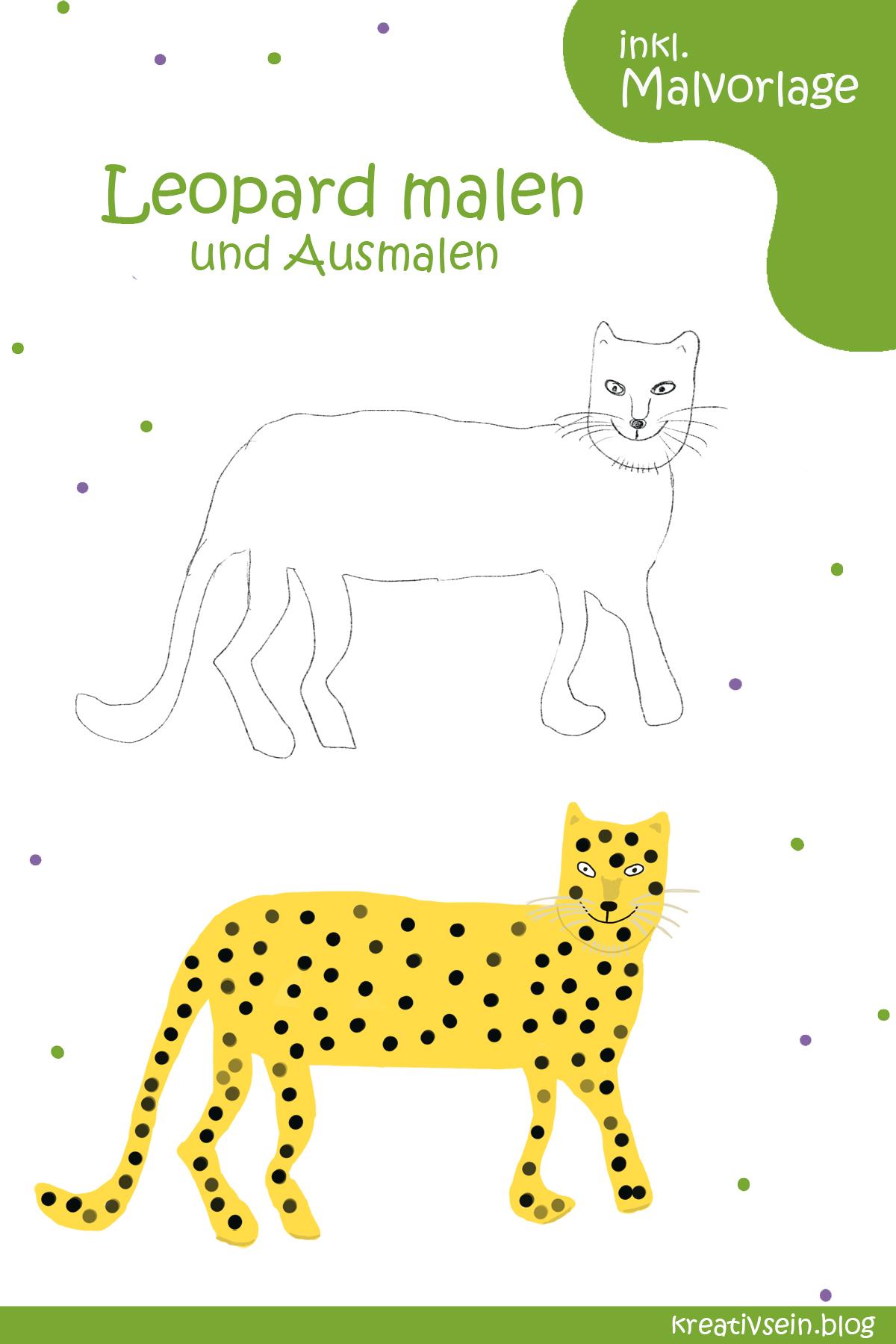 Leopard Malen und Ausmalen