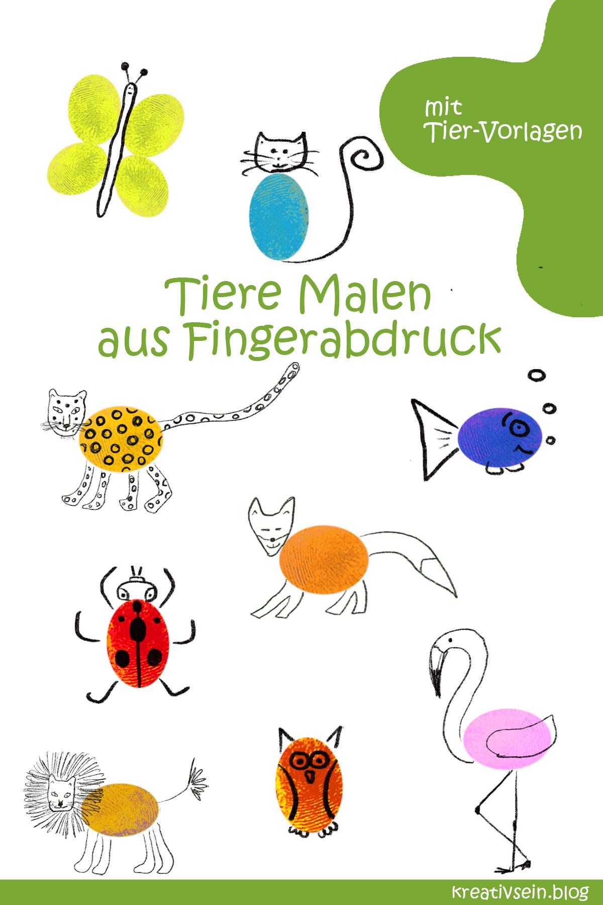 Fingerabdruck Tiere Malen