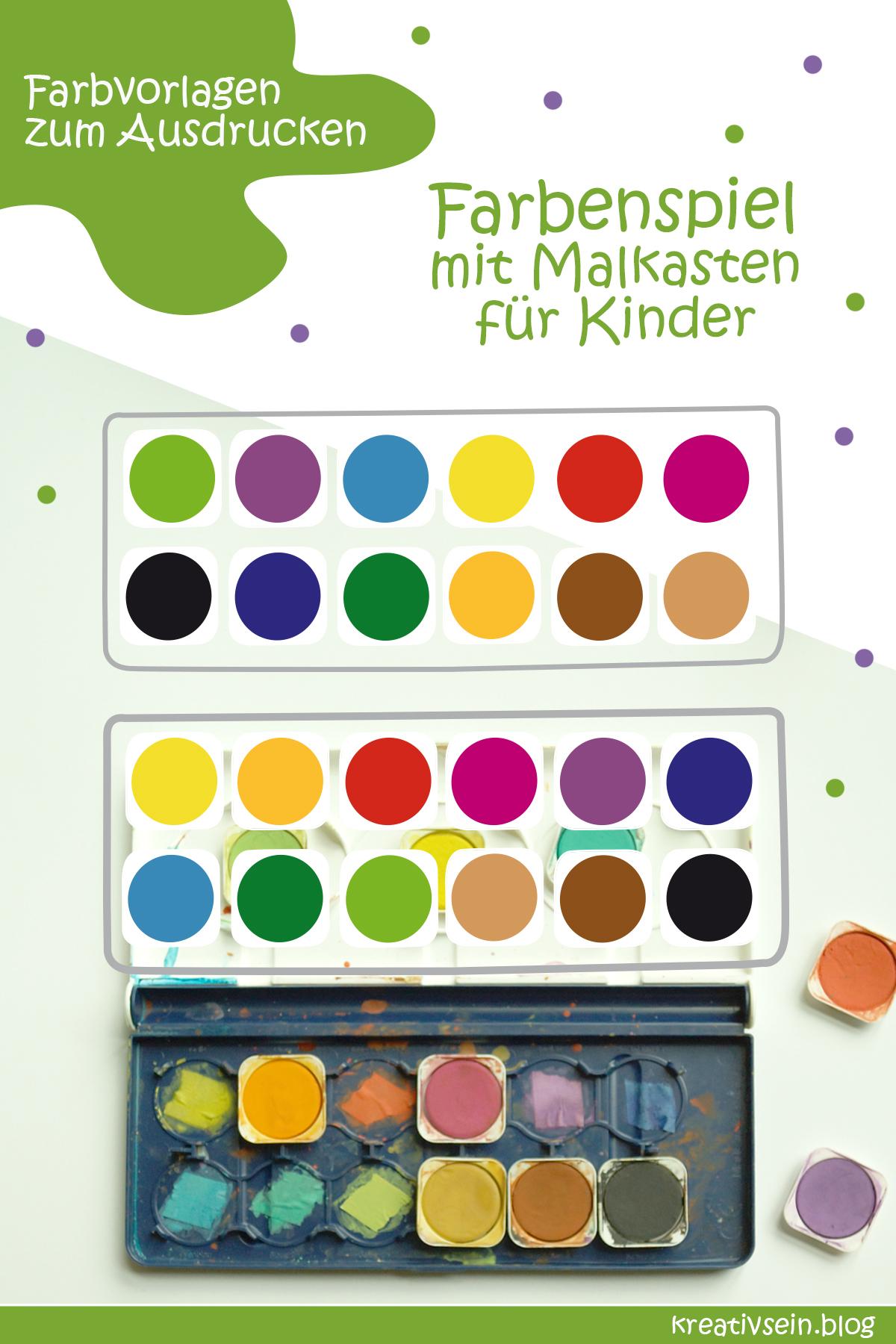 Farben lernen Spiel Malkasten Reihenfolge