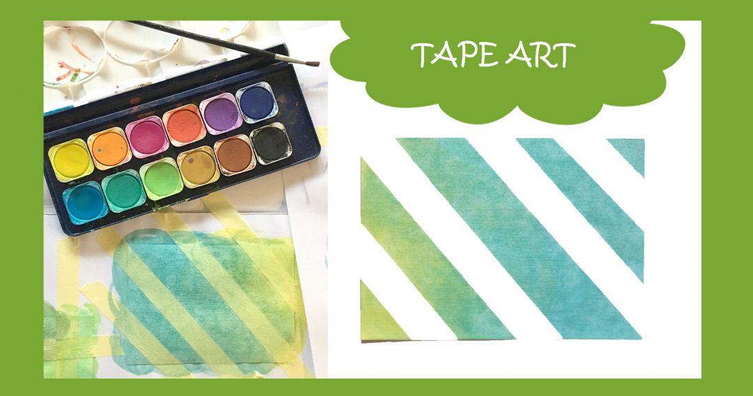 Karten Malen Tape Art mit Kindern -