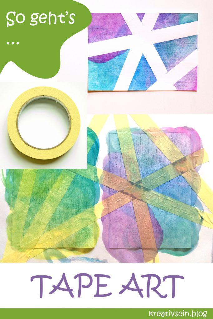 Karten Malen mit Kindern, Tape und Wasserfarben