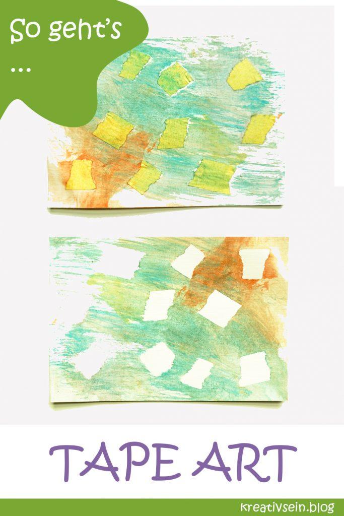 Karten Malen mit Kindern und Klebeband - Experimente