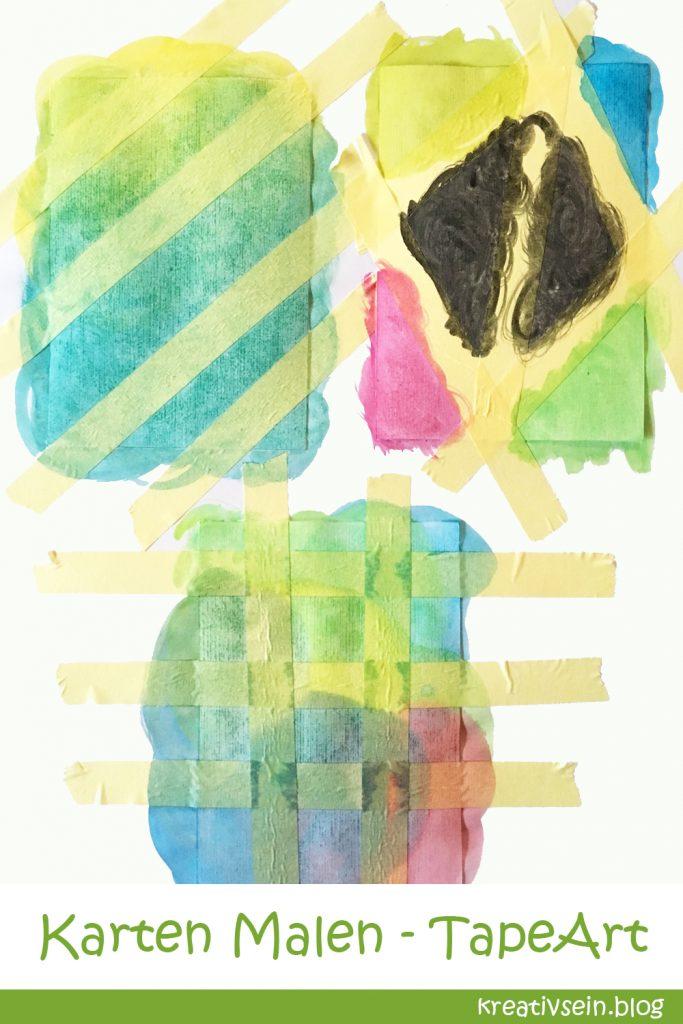 Karten Malen mit Klebeband, Wasserfarben und Kindern