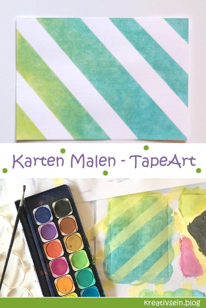 Karten Malen mit Tape Art