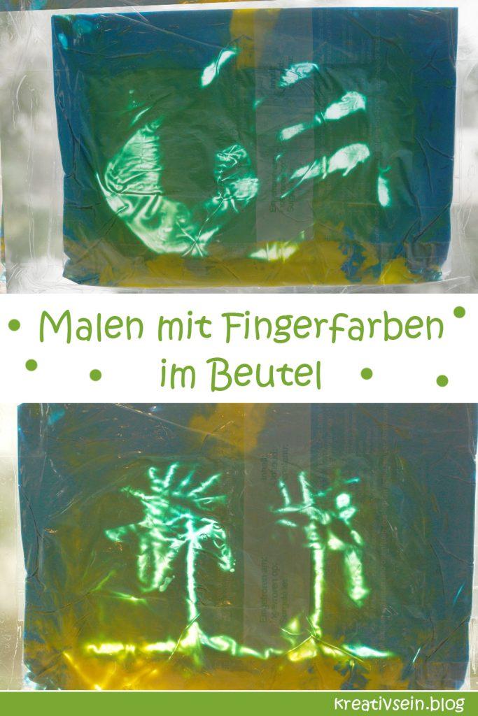 Malen mit Fingerfarben im Beutetl für Kinder