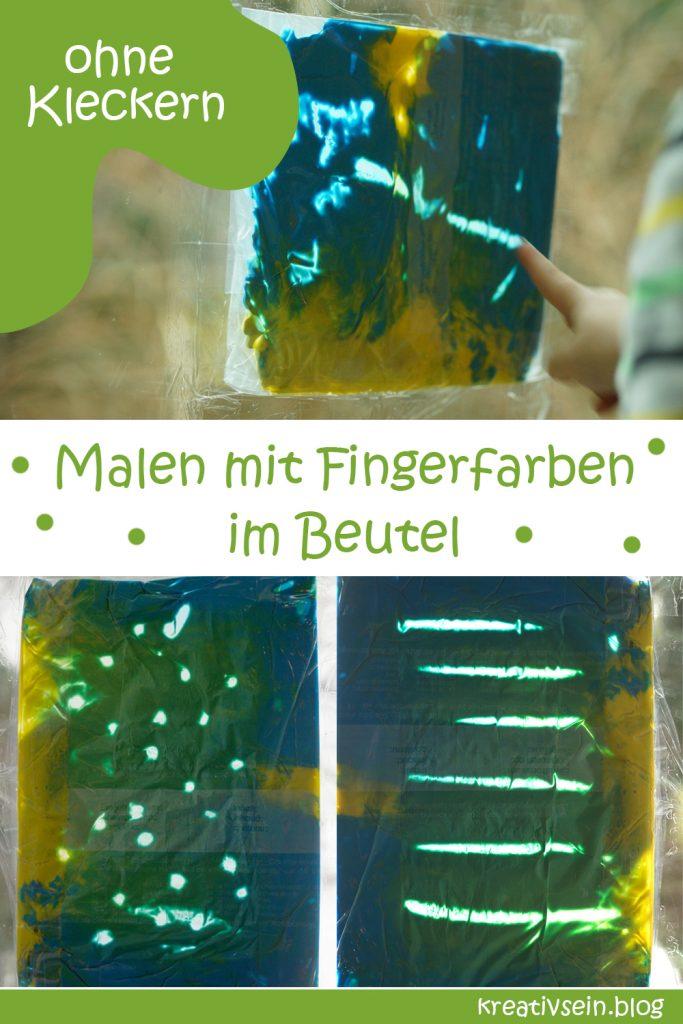 Malen mit den Fingern am Fingerfarbbeutel