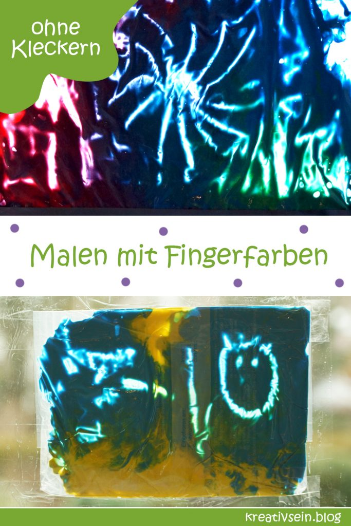 Bilder malen mit Fingerfarben im Beutel