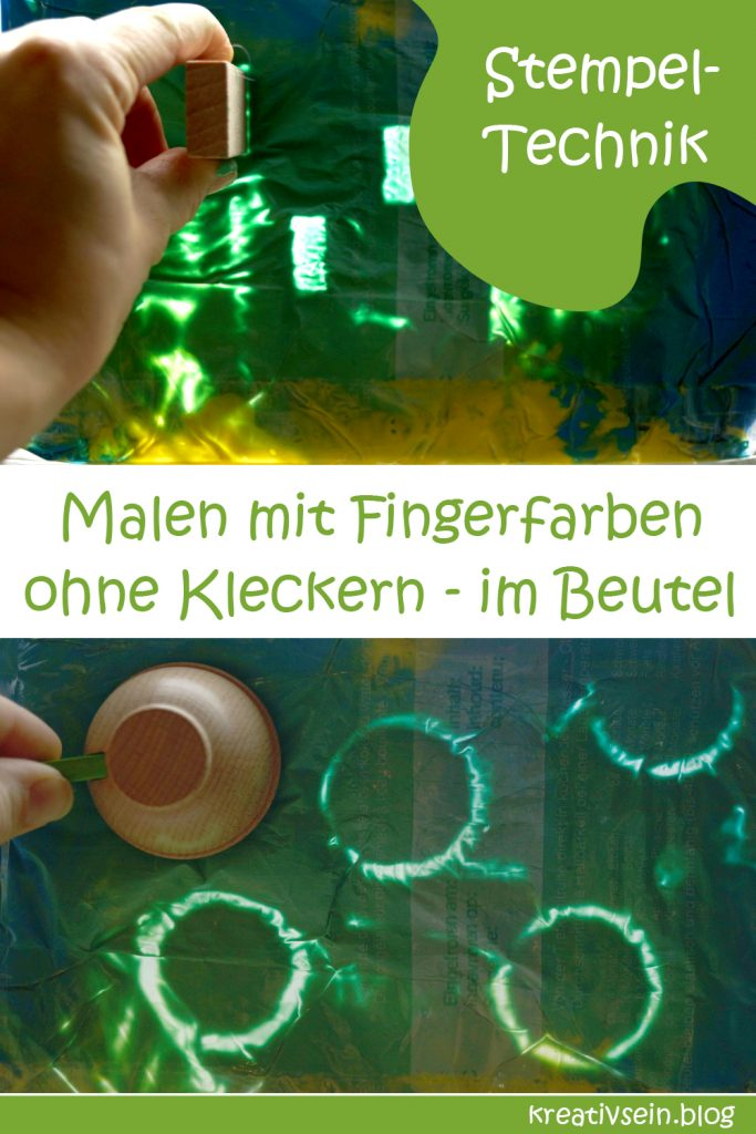 Stempel verwenden beim Malen mit Fingerfarben im Beutetl