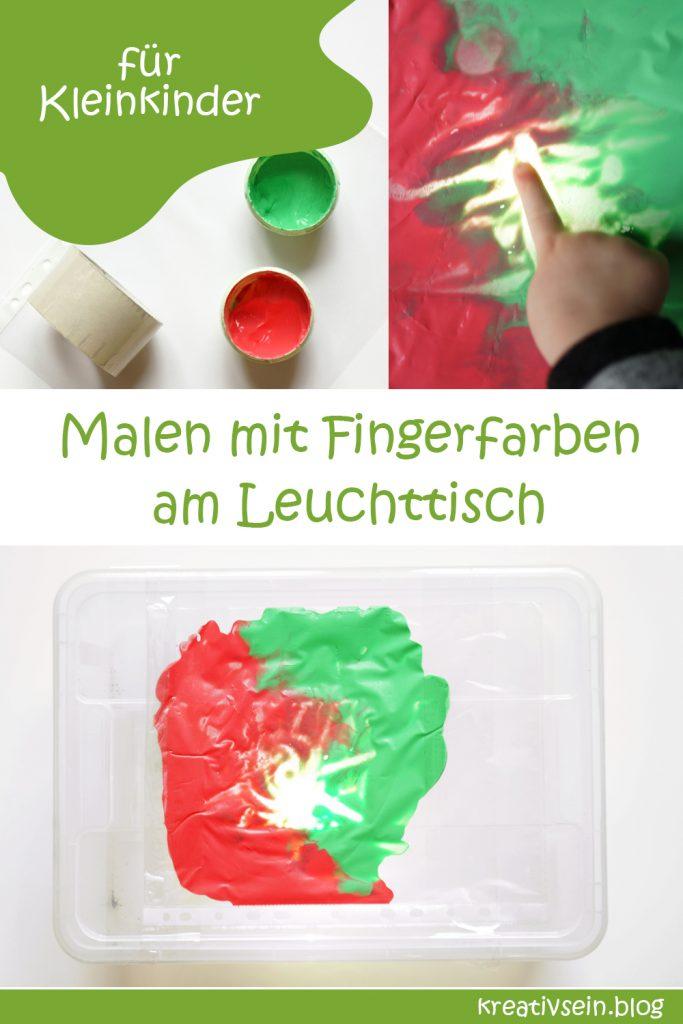 Malen mif Fingerfarben im Beutel am Leuchttisch