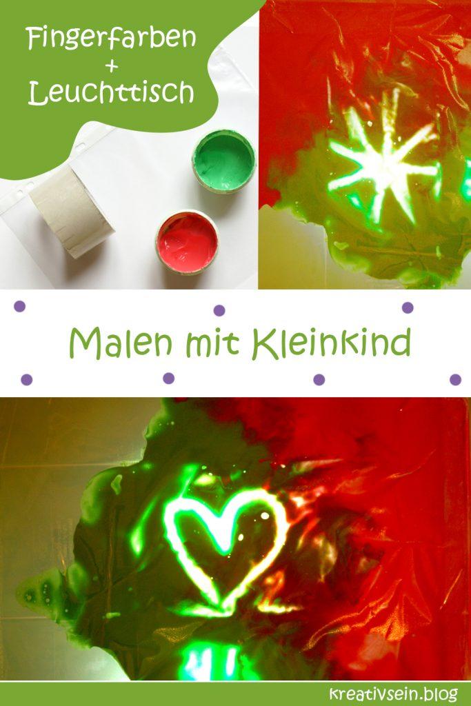 Formen Malen mit Fingerfarben im Beutel am Leuchttisch