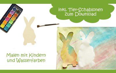Tierische Idee zum Malen mit Kindern und Wasserfarben