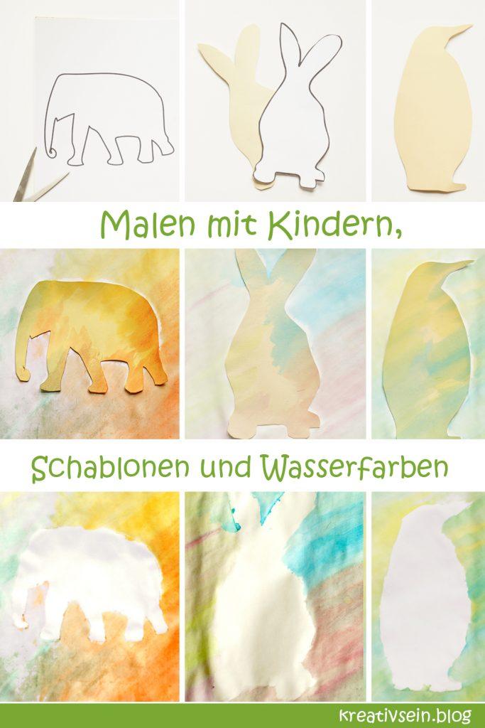 Tiere Malen mit Kindern und Wasserfarben